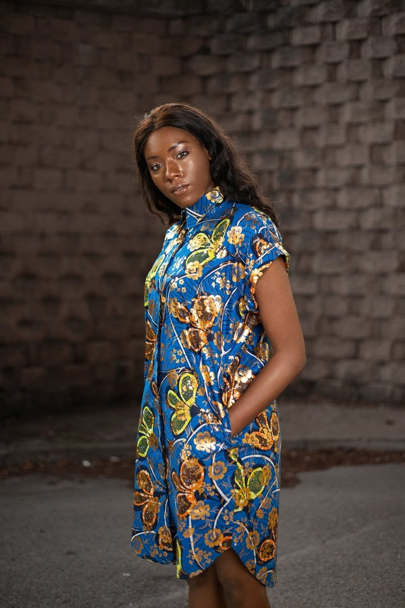 Beautiful Blue Gold African Dress - Continent Clothing