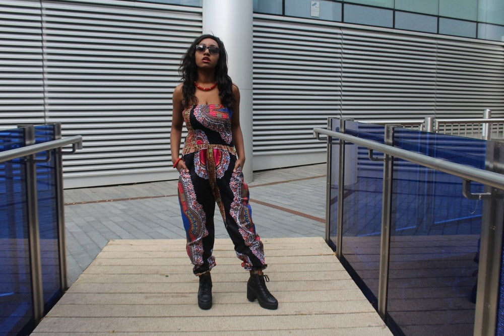 Black Dashiki Jumpsuit perfect for Summer Festivals - Continent Clothing