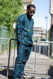 Brilliant Blue Ankara Suit / African Clothing - Continent Clothing