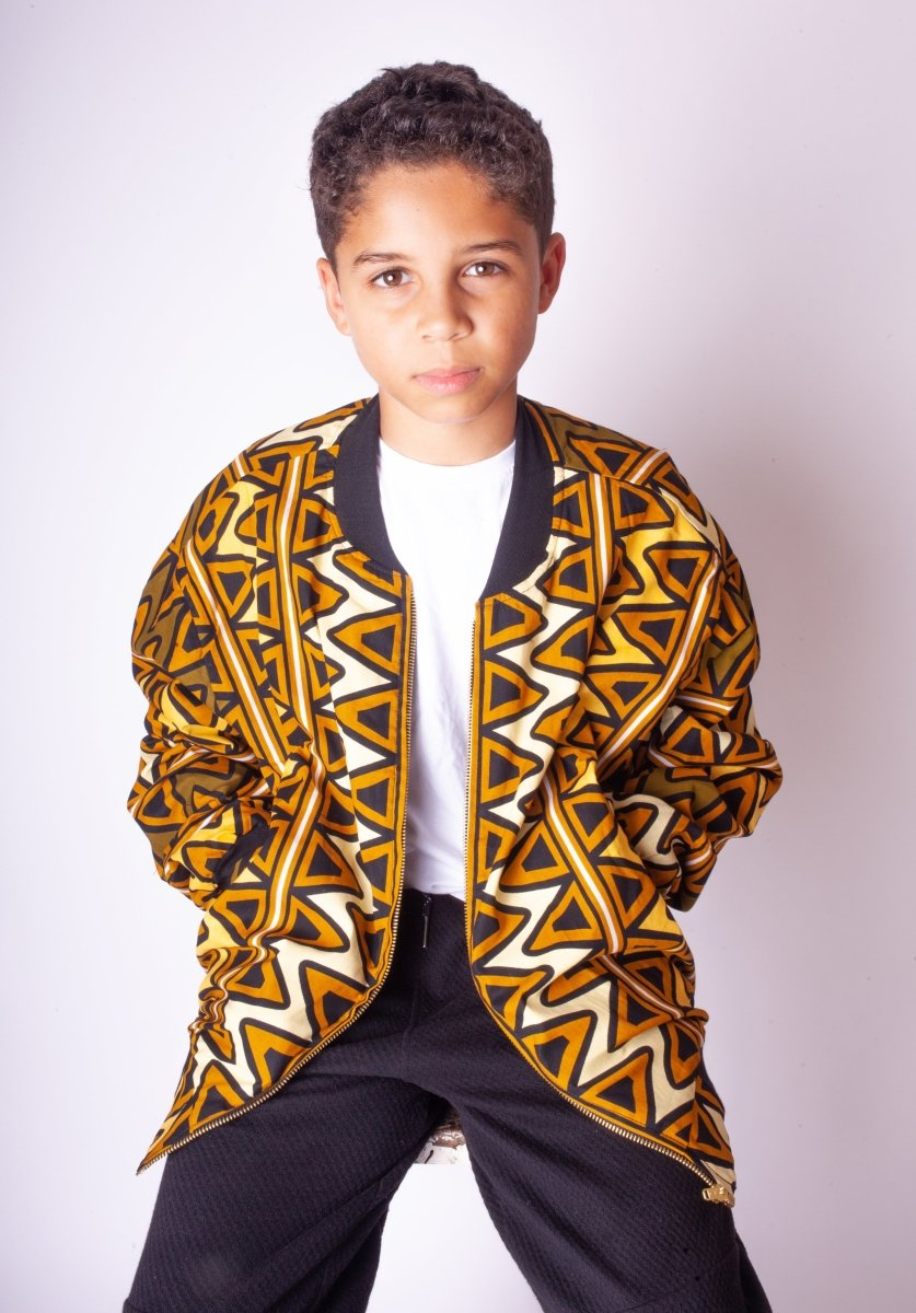 Children's African Bomber Jacket In Earthy Tones Mud Cloth - Continent Clothing