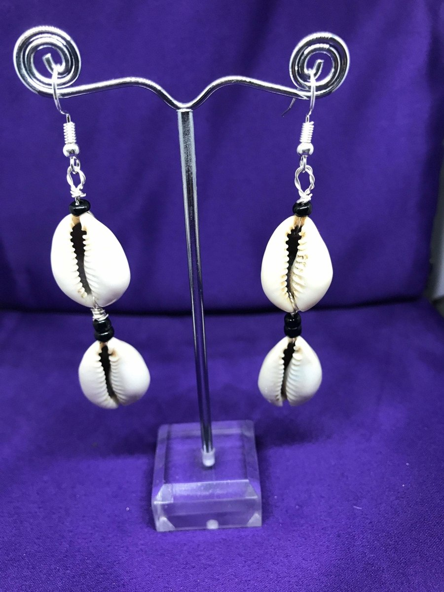 Cowrie Seashell Earrings Made with Silver Wire - Continent Clothing