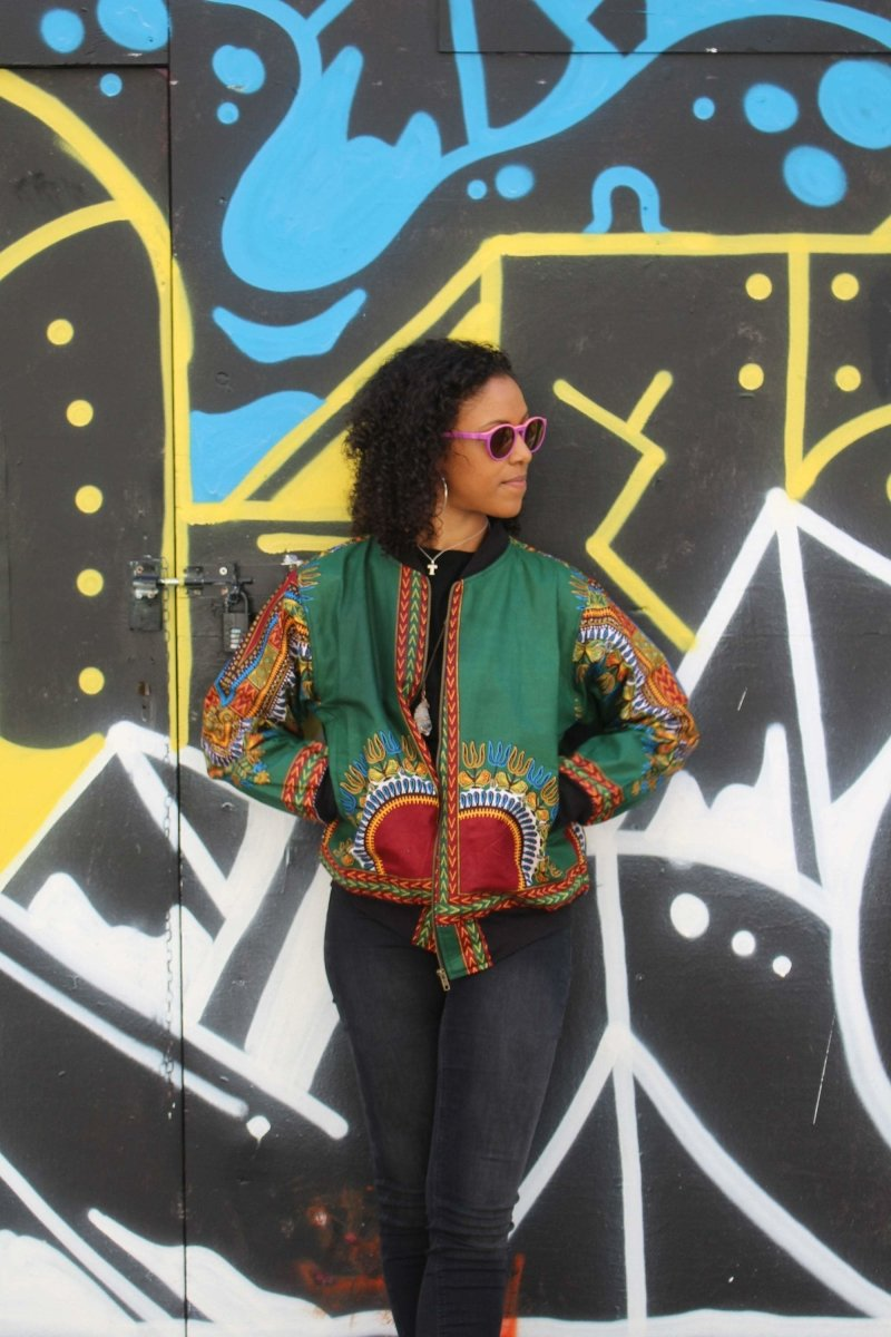 Dashiki Bomber Jacket in Green - Continent Clothing