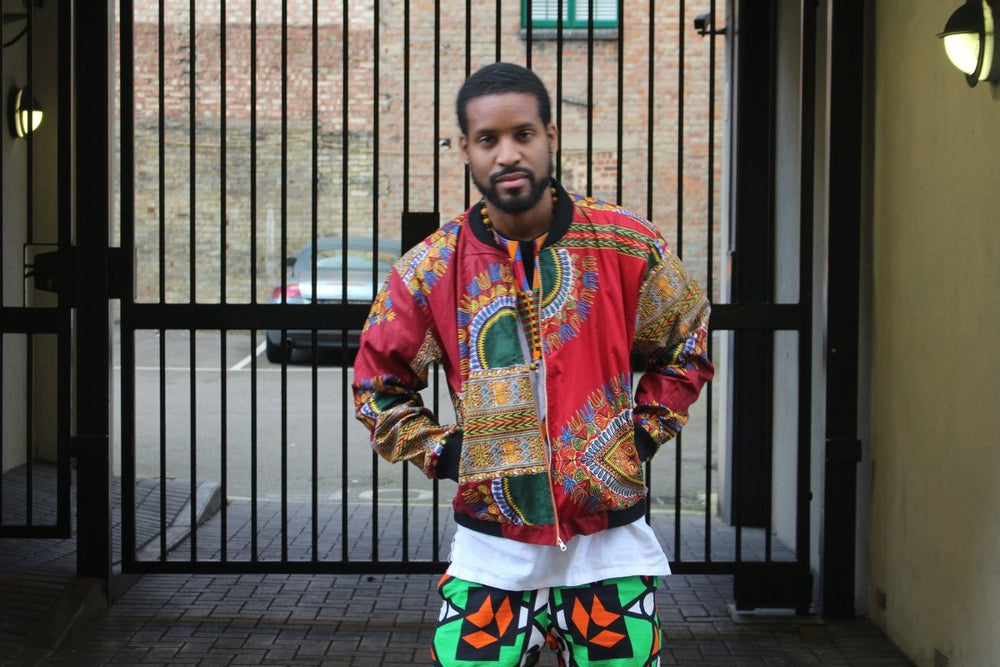 Dashiki Bomber Jacket in Red African Print - The Continent Clothing