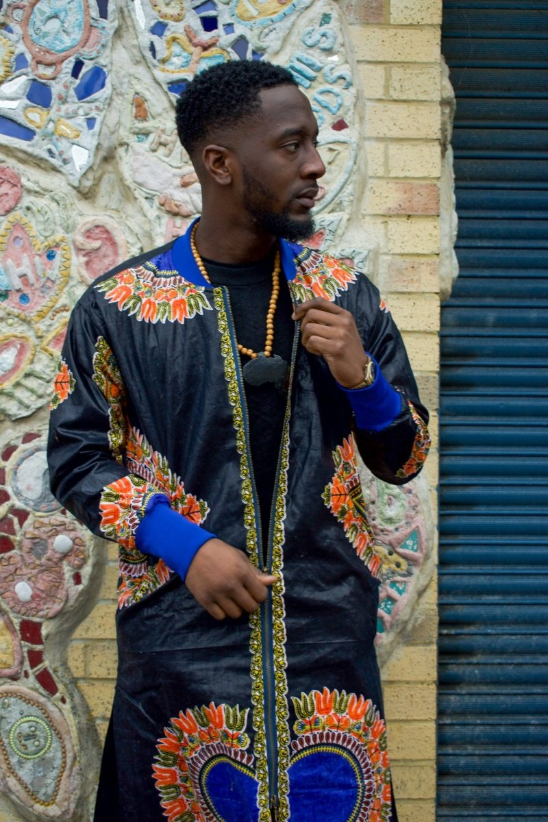 Dashiki Coat in Black and Red Print - Continent Clothing