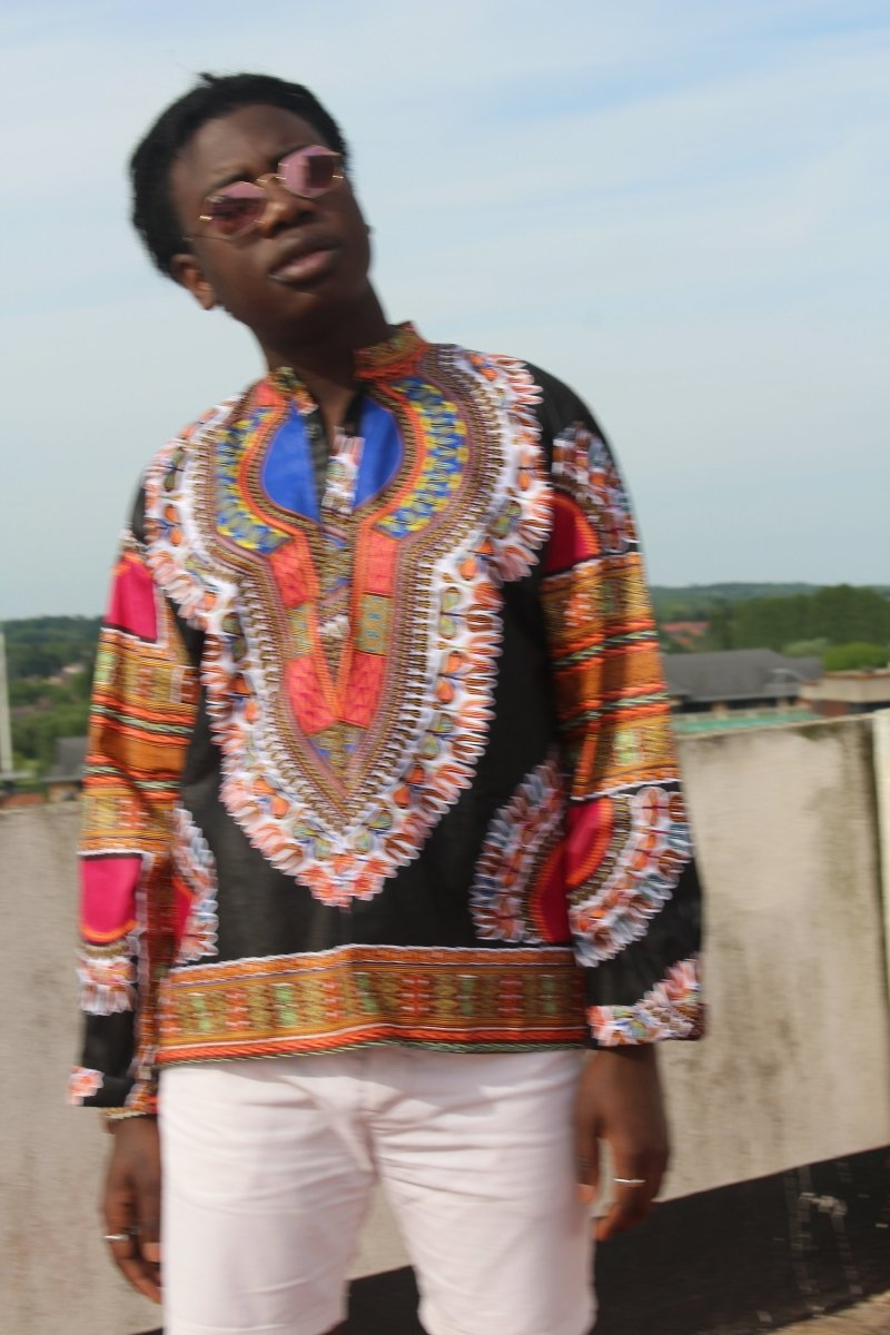 Dashiki Shirt in Black Print - Festival Shirt - The Continent Clothing