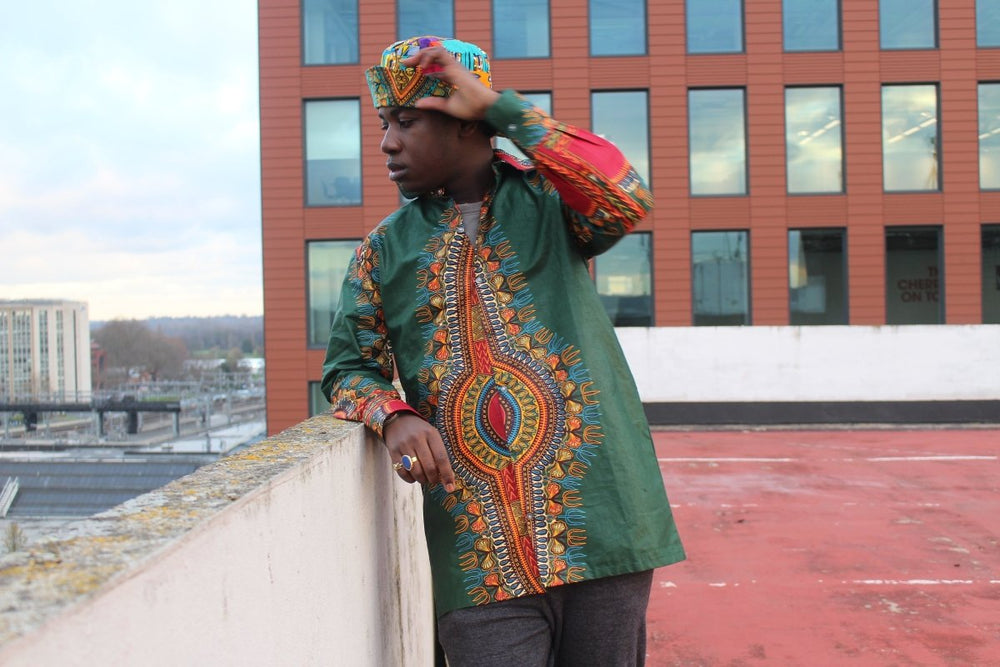Dashiki Shirt in Green Print - Festival Clothing - Continent Clothing