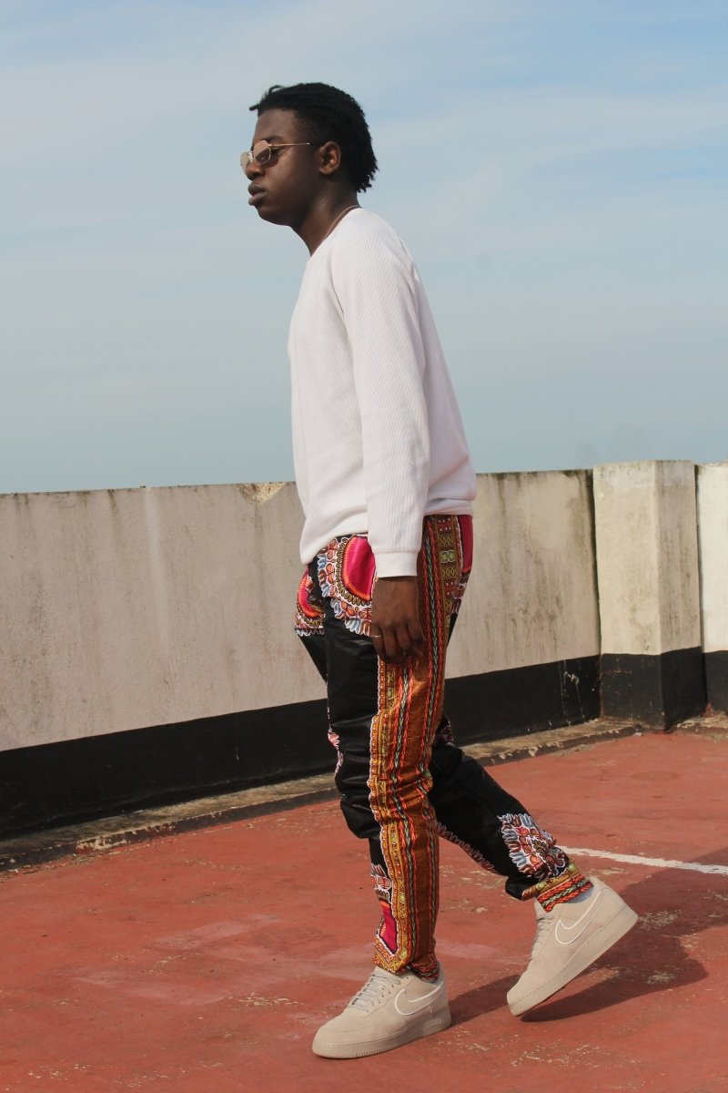 Dashiki Trousers in Black and red African Print - Festival Trousers - Continent Clothing