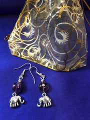 Elephant Charm Earrings with Amethyst - Continent Clothing