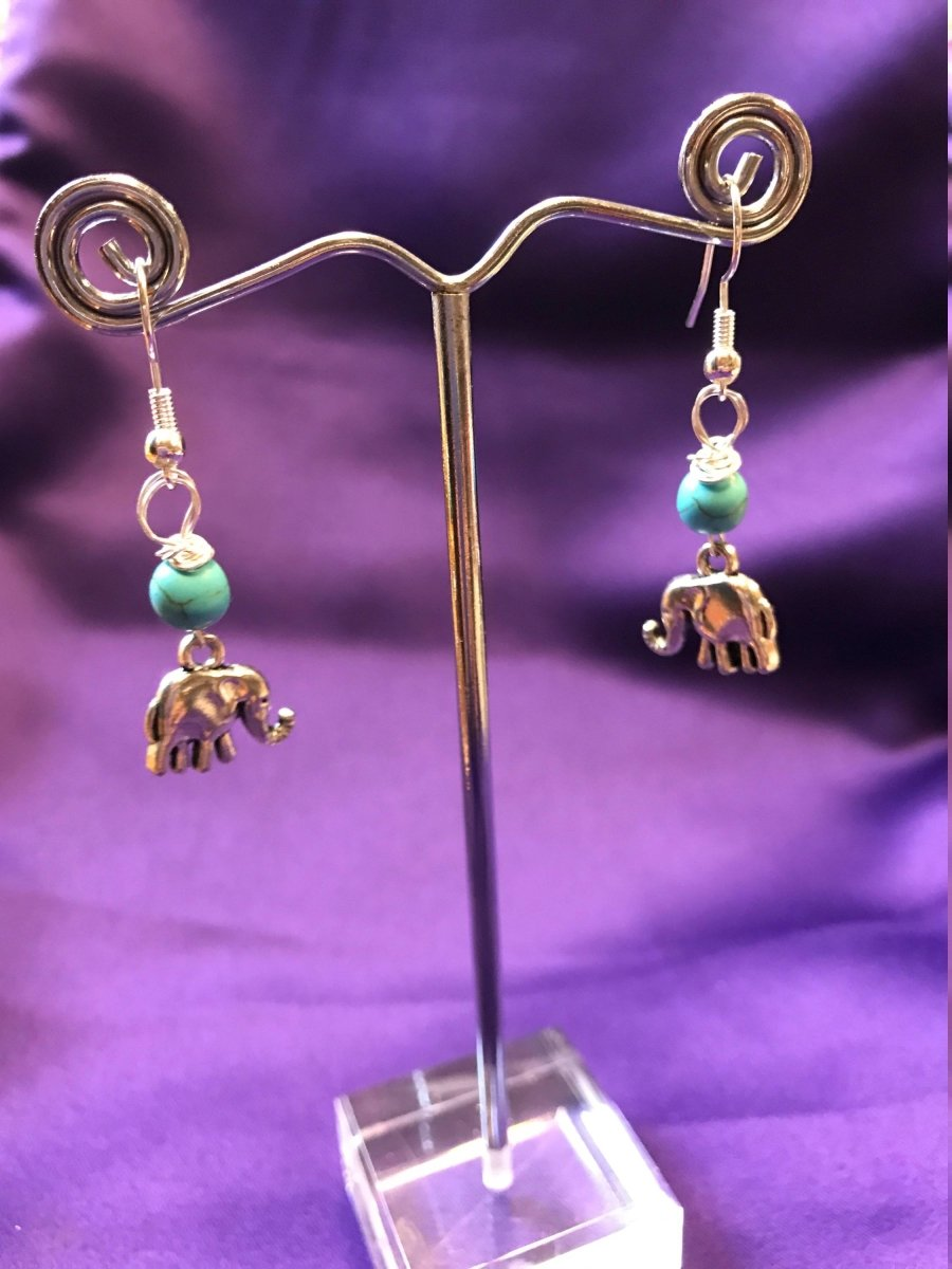 Elephant Earrings With Turquoise Crystal - Continent Clothing