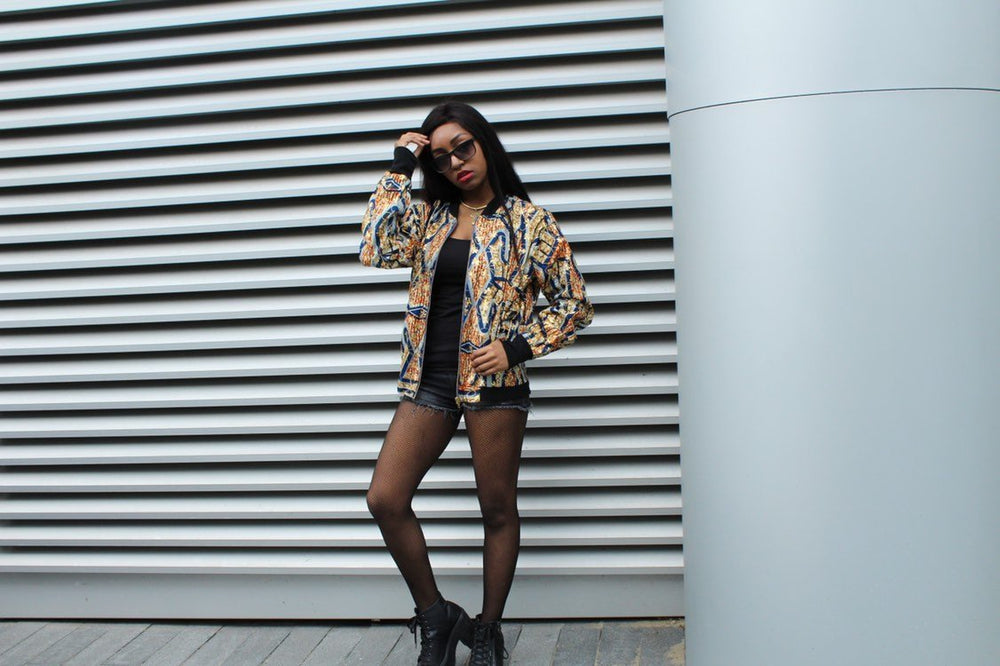 Festival Bomber Jacket in Gold Blue Ankara - Continent Clothing