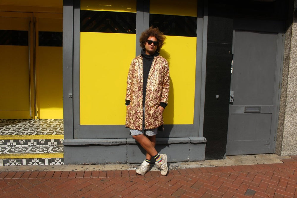 Festival Coat in Gold African Print - Continent Clothing