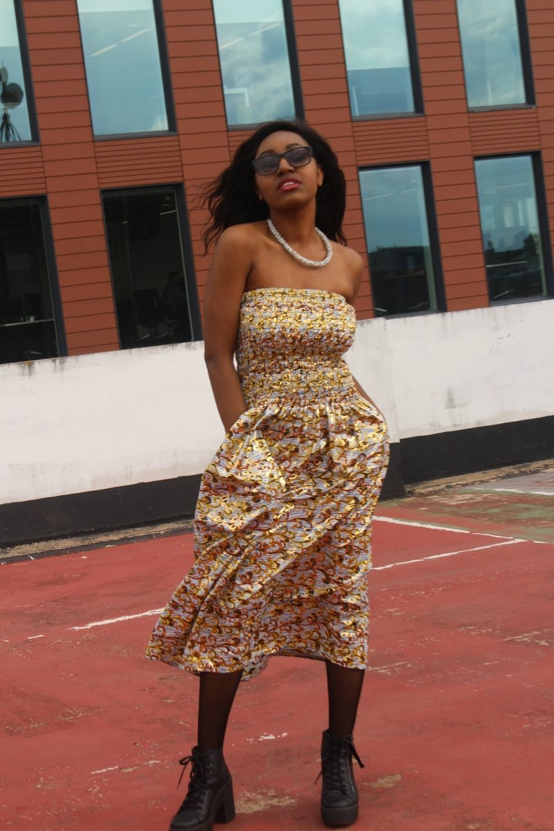 Festival Dress in Orange Gold Ankara Print - Tribal Dress - The Continent Clothing