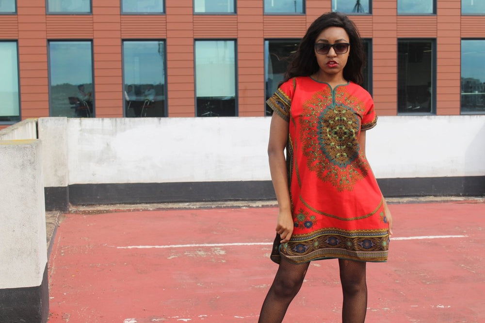 Festival Dress is Red Dashiki - Continent Clothing