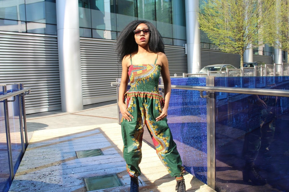 Festival Jumpsuit in Green Dashiki Print - Continent Clothing
