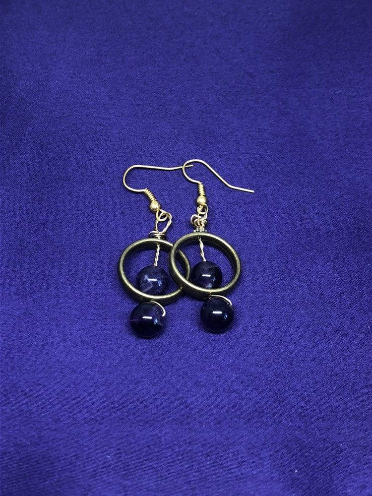 Gemstone Earrings With Obsidian - Continent Clothing
