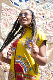 Gorgeous Dashiki Dress in Brown Print - Continent Clothing