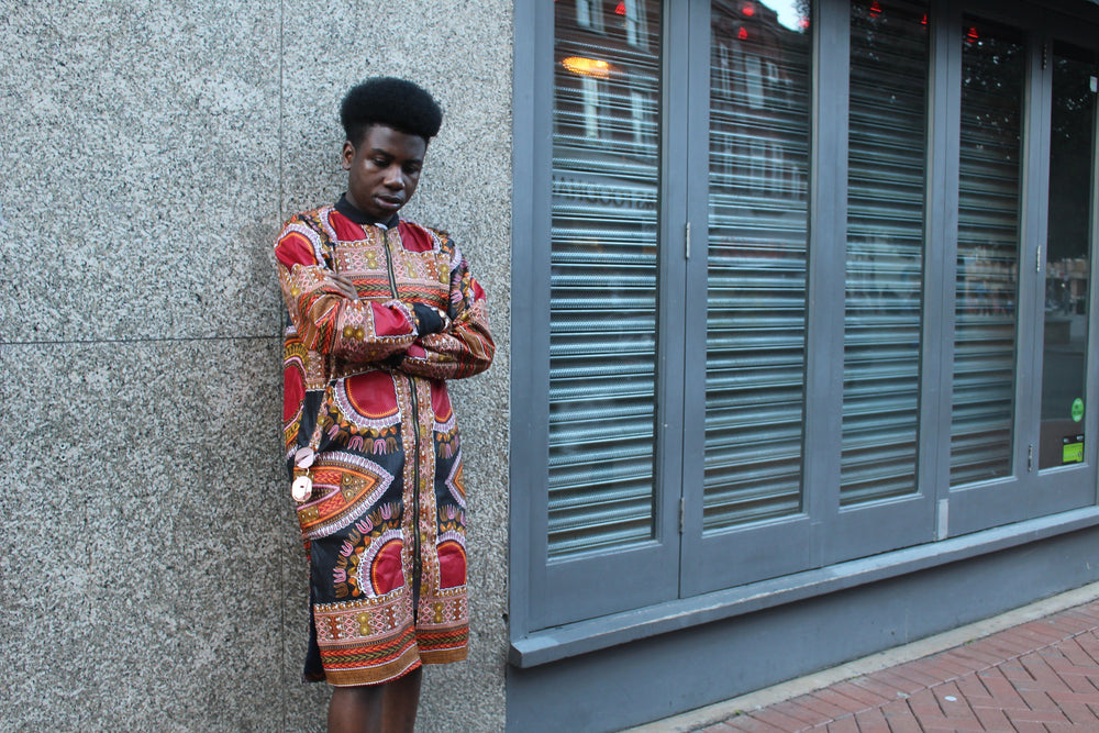 African Coat in Black Dashiki the perfect Summer Coat - Continent Clothing