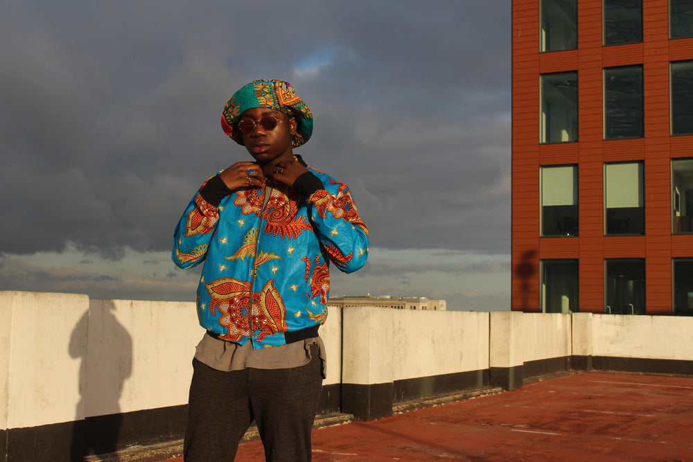 African Festival Jacket in Blue Aztec Print - Continent Clothing