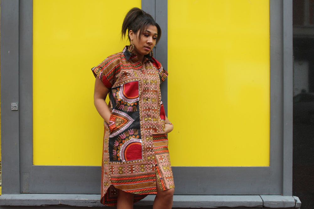 African Shirt Dress in Black Dashiki Print - Festival Dress - Continent Clothing