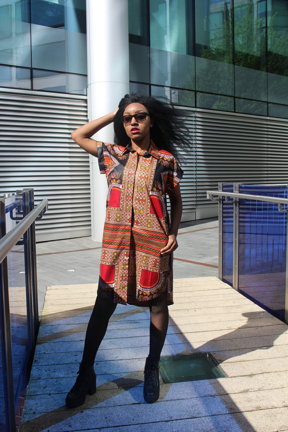 Aztec Dress, African Shirt Dress in Black Dashiki Print - Festival Dress - Continent Clothing