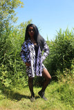 African Print Boyfriend Shirt in White Ankara - Festival Clothing - Continent Clothing