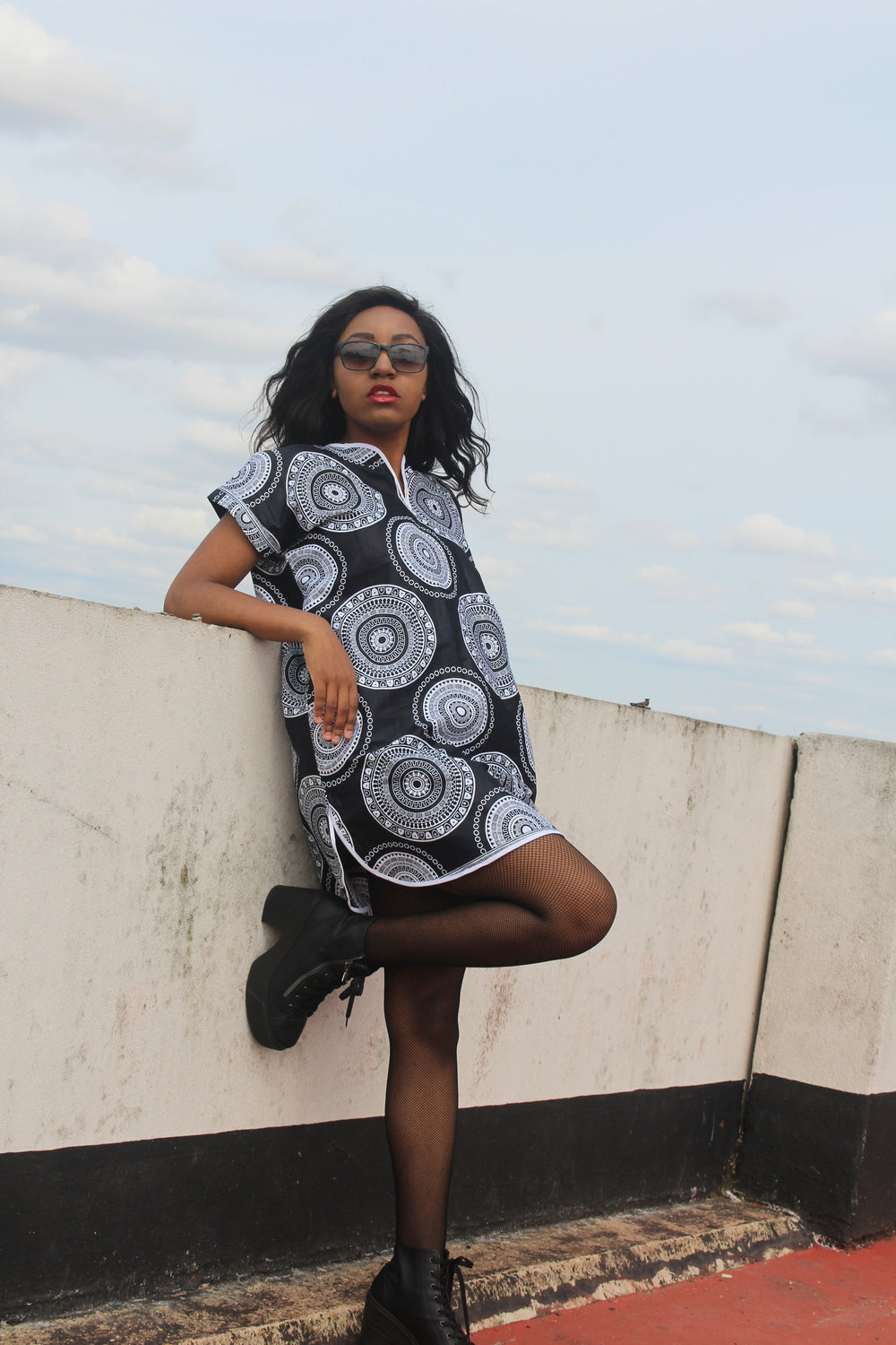 African Shift Dress in Black Ankara Print - Festival Dress - Continent Clothing