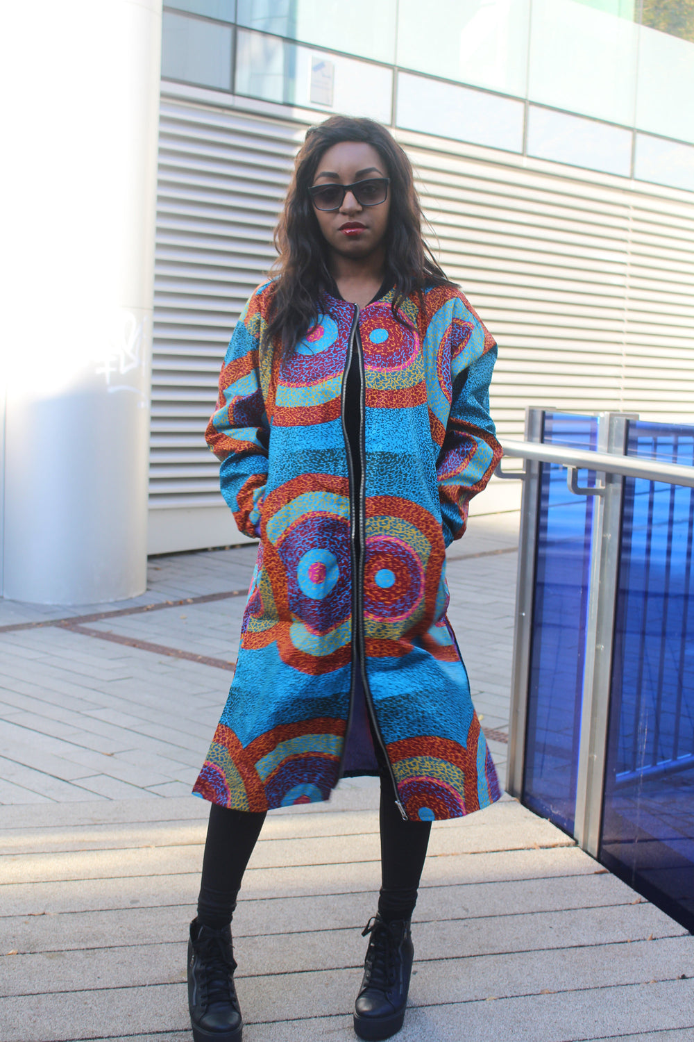 African Trench Coat in Blue Ankara Print - Festival Coat - Continent Clothing