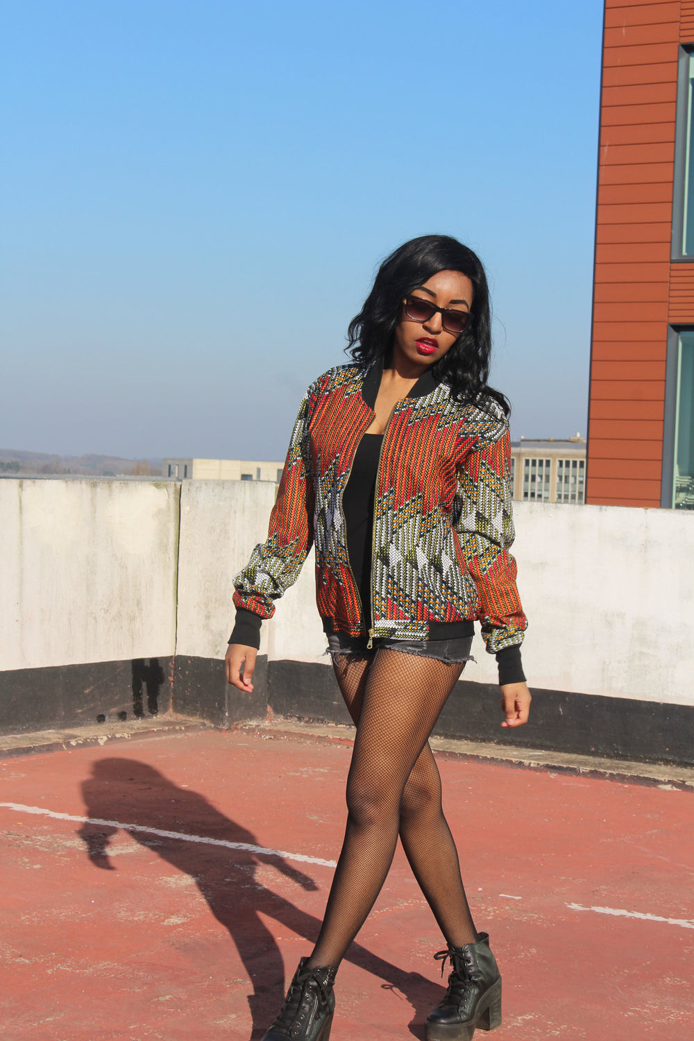 African Bomber Jacket in Orange Red Ankara Print - Continente Abbigliamento