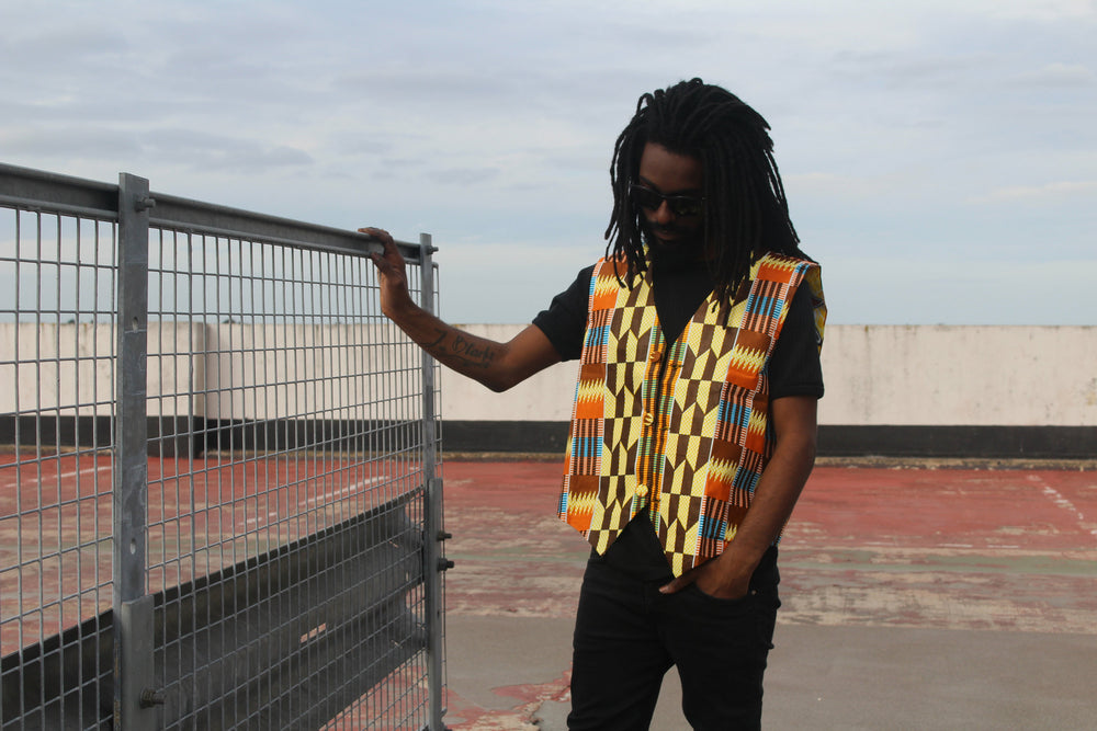 African Waistcoat in Orange Yellow Ankara - Reversible - Continent Clothing