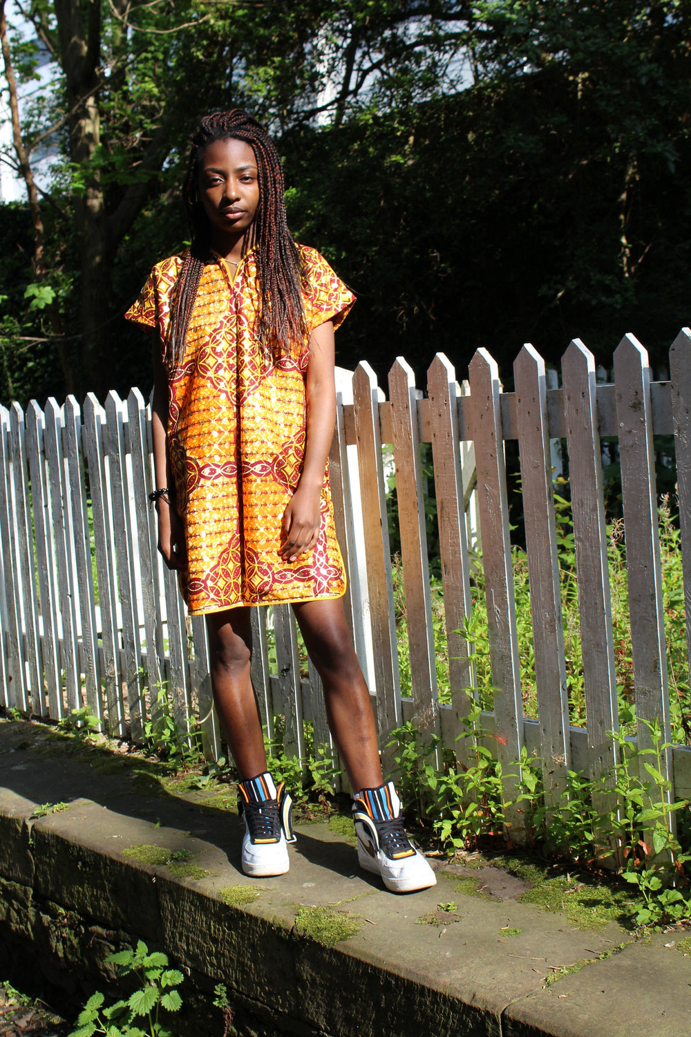 Festival Dress in Orange Gold Ankara Print - Tribal Dress - Continent Clothing