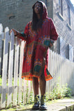 African Hooded Dress in Red Dashiki Print - Festival Dress - Continent Clothing