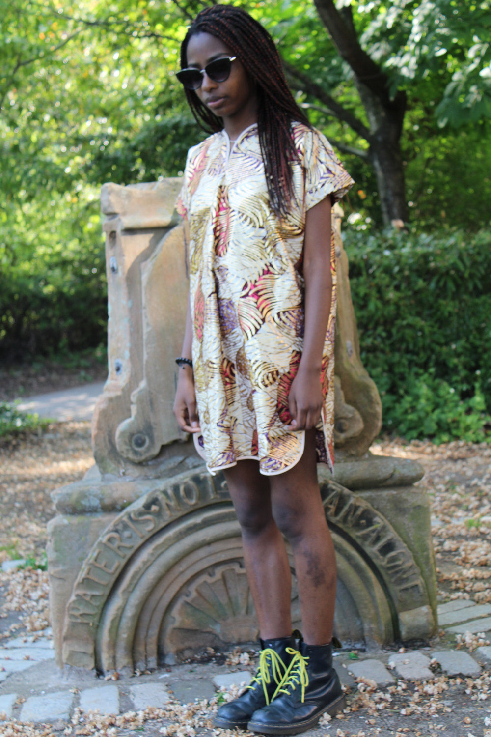 African Shift Dress in Gold Ankara Print - Festival Dress - Continent Clothing