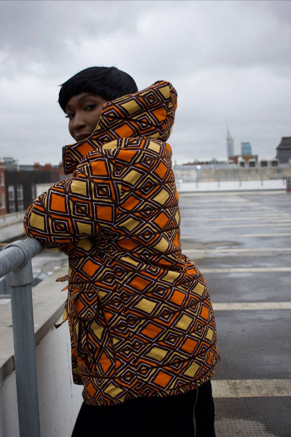 African Puffer Jacket in Brown Ankara Print - African Coat - Continent Clothing