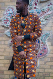 Kente Trench Coat in Orange Print - Continent Clothing