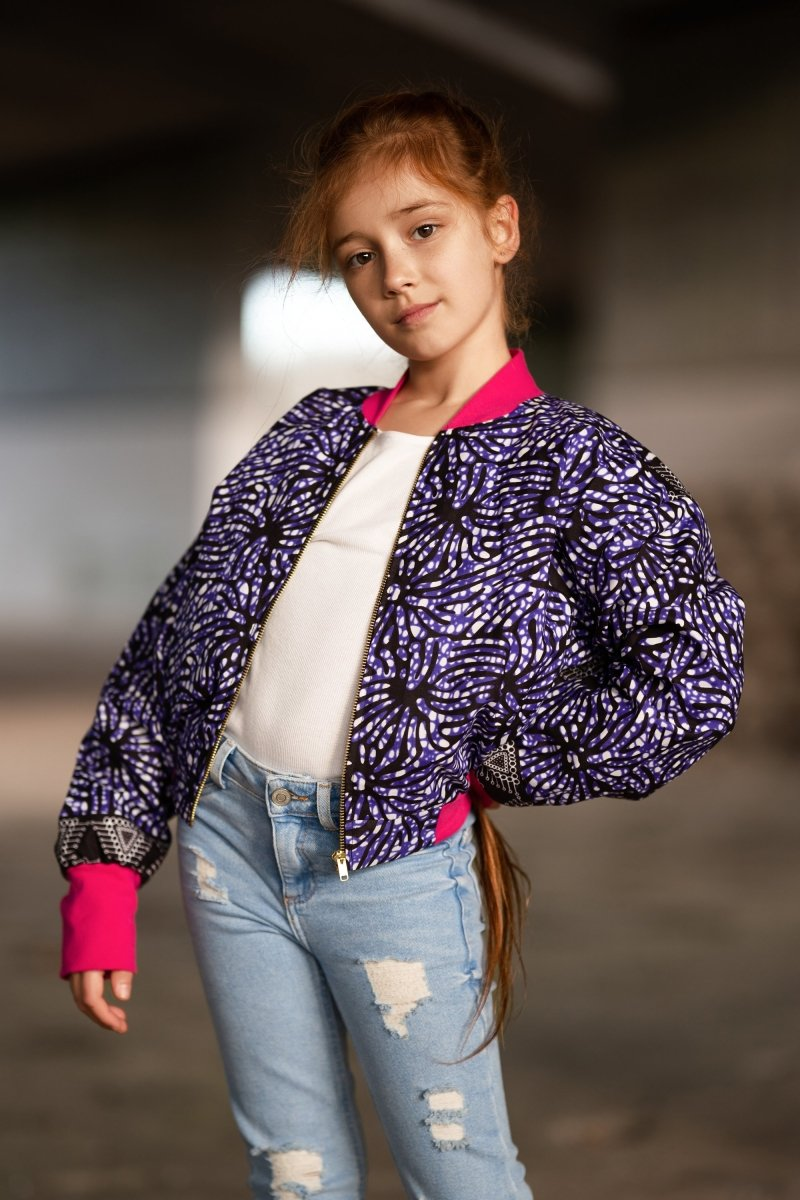 Kids African Bomber Jacket In Chilled Purple - Continent Clothing