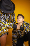 Kids African Bomber Jacket In Earthy Tones Mud Cloth - Continent Clothing