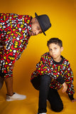 Kids African Bomber Jacket In Electric Red - Continent Clothing