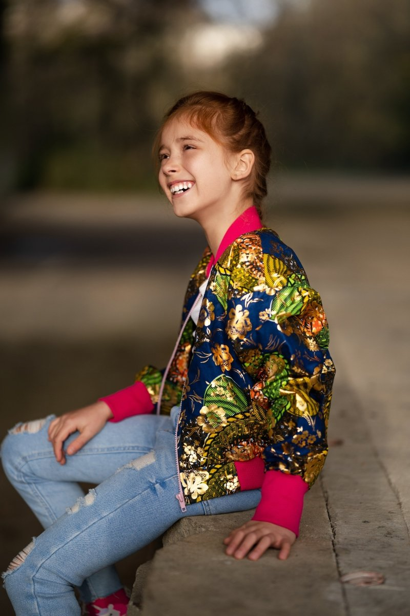 Kids African Bomber Jacket In Metallic Gold Blue - Continent Clothing
