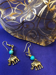 Lucky Elephant Earrings with Turquoise - Continent Clothing