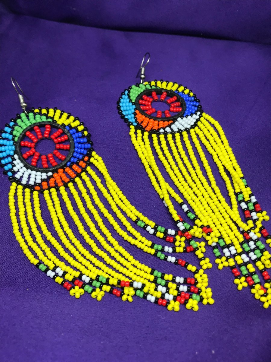 Masai Earrings In Yellow - Continent Clothing
