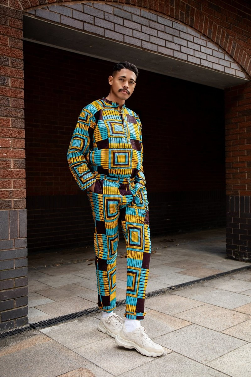 Matching African Suit In Blue Ankara - The Continent Clothing