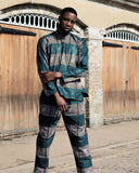 Matching African Suit In Blue Kente - Continent Clothing