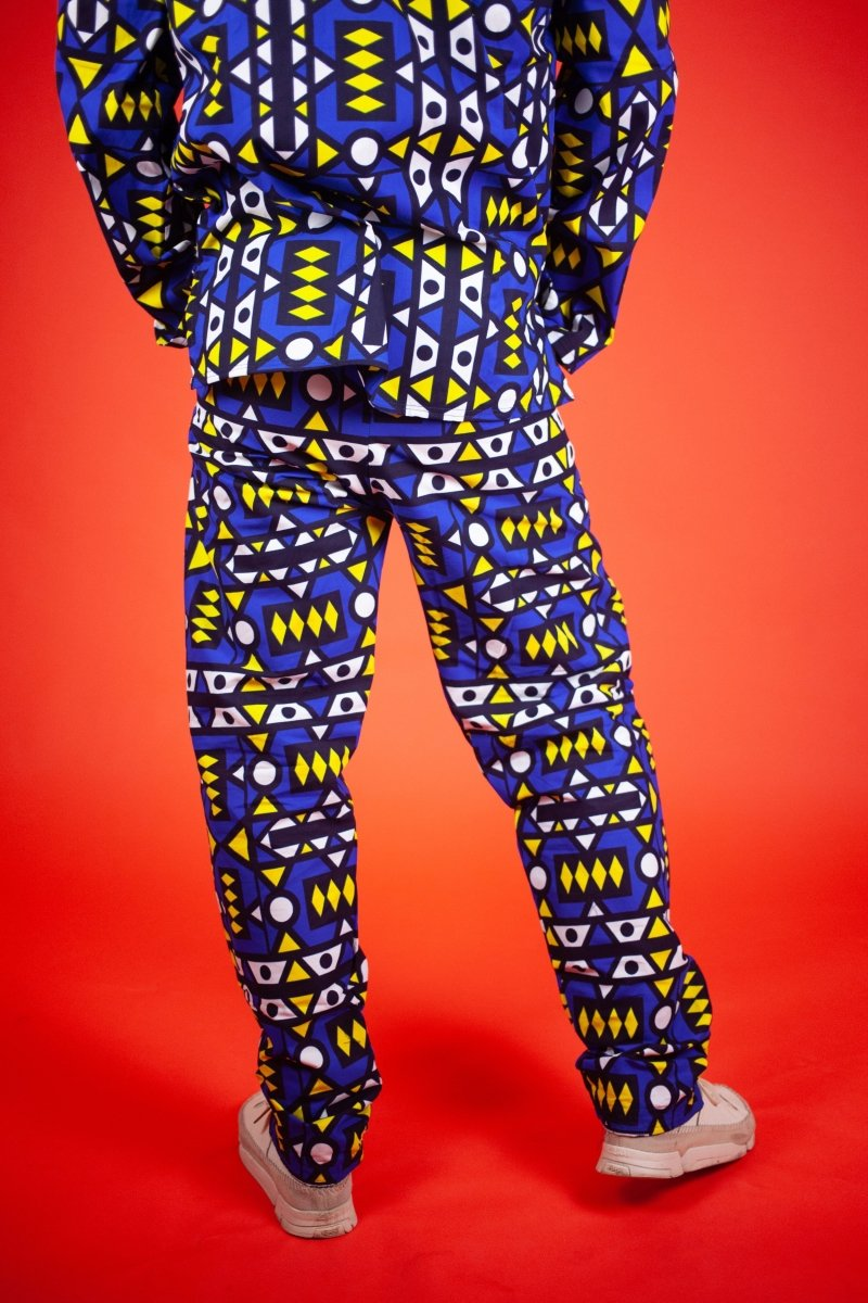 Matching African Suit In Blue Samakaka - Continent Clothing