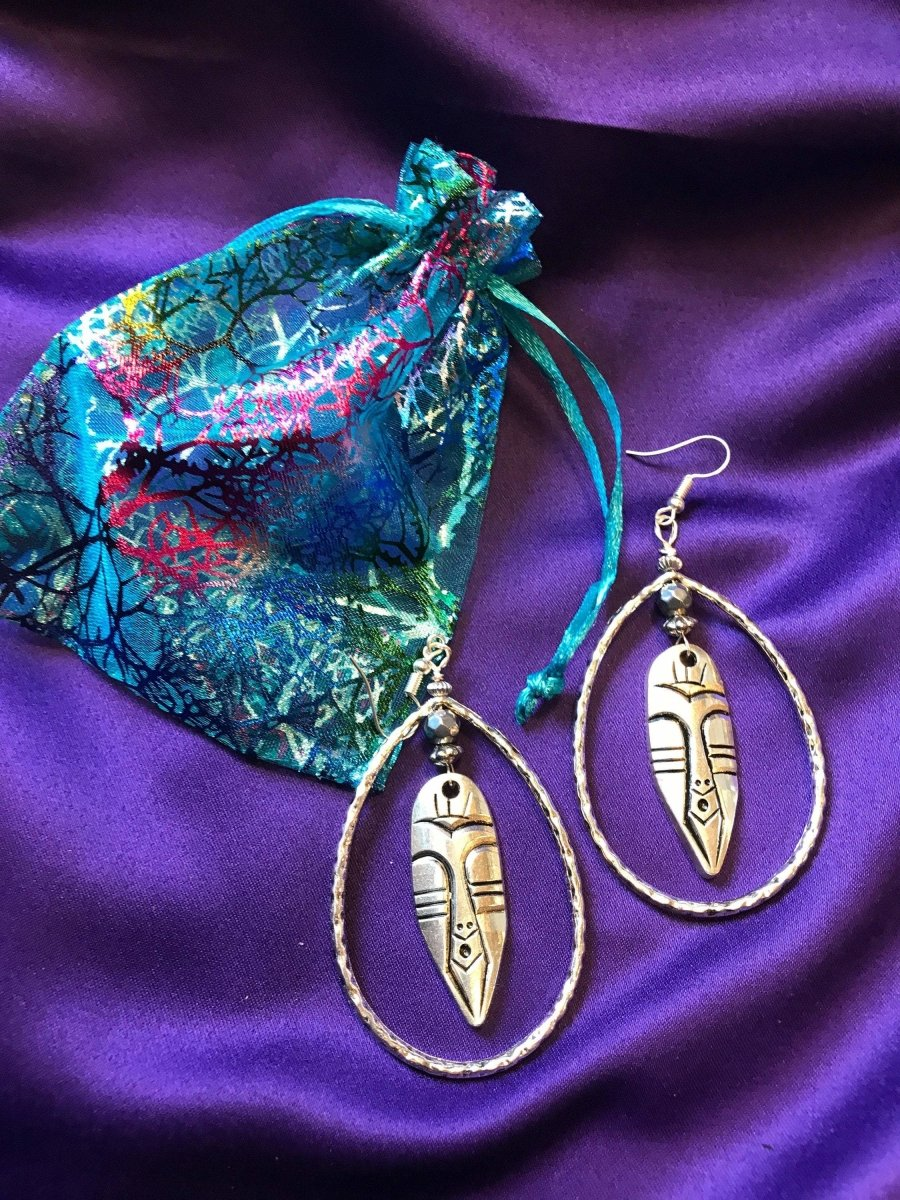 Nefertiti earrings Statement Earrings in Silver - Continent Clothing