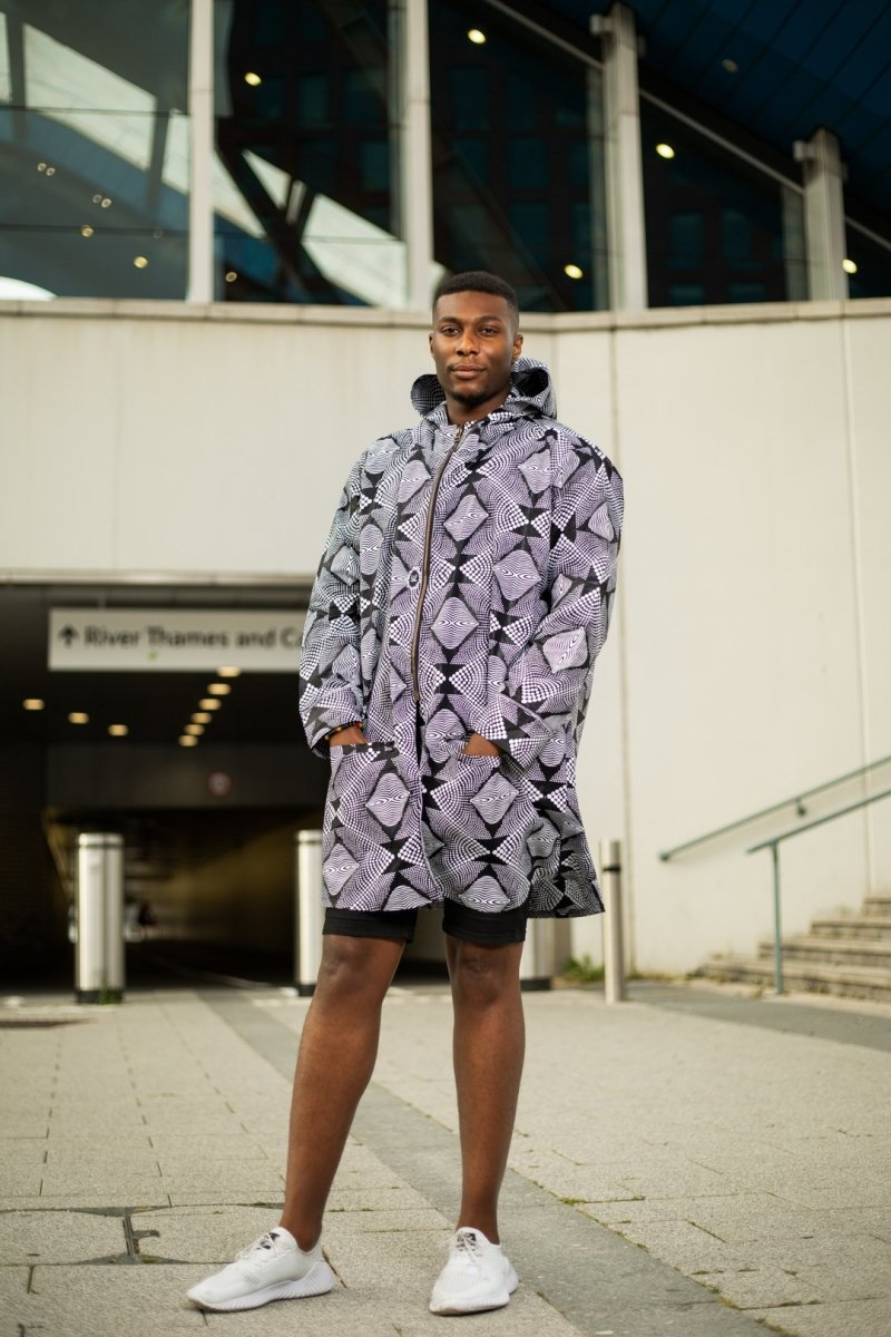 Oversized African Hoodie In Amazing Monotone - Continent Clothing
