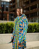 Oversized African Hoodie In Blue Kente Print - Continent Clothing