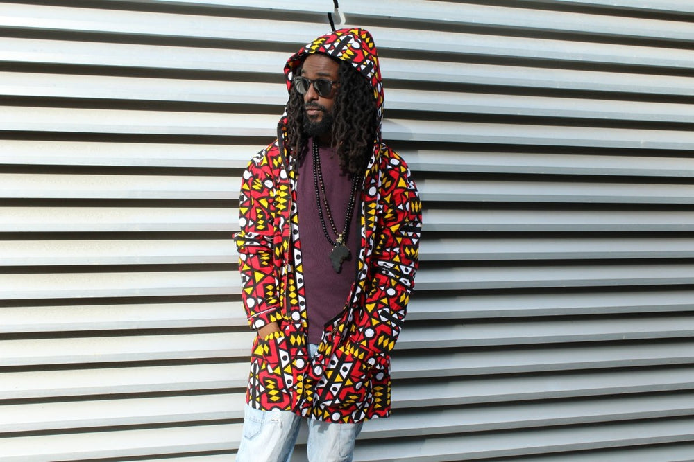 Oversized African Hoodie In Electric Red Sumakaka - The Continent Clothing