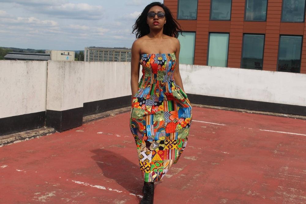 Patchwork Dress in Ankara Print - Festival Dress - Continent Clothing