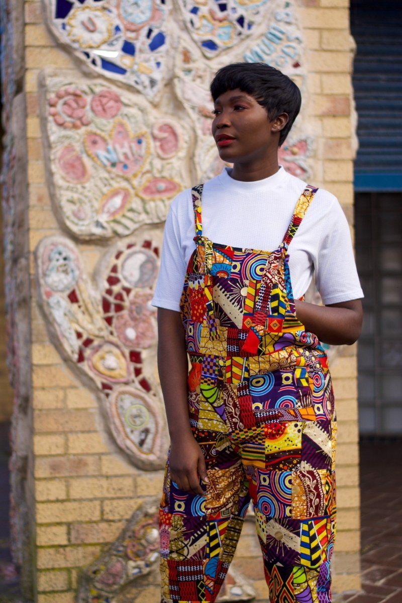Patchwork Dungarees, African Dungarees in Ankara Print - Festival Clothing - Continent Clothing