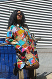 Patchwork Oversized Shirt Dress - Festival Dress - Continent Clothing